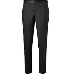 Thom Sweeney - Midnight-Blue Slim-Fit Satin-Trimmed Wool Tuxedo Trousers