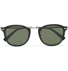 Ermenegildo Zegna - Round-Frame Leather-Trimmed Acetate and Gunmetal-Tone Sunglasses