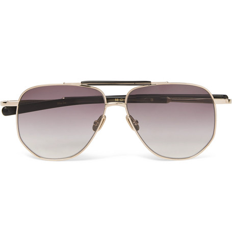 Max Pittion Coleman Aviator-Style Gold-Tone And Acetate Sunglasses - Gold - One Siz