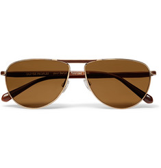 Berluti + Oliver Peoples Conduit St Aviator-Style Gold-Tone and Acetate Polarised Sunglasses