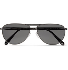 Berluti + Oliver Peoples Conduit St Aviator-Style Gunmetal-Tone and Acetate Polarised Sunglasses