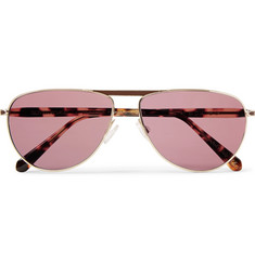 Berluti + Oliver Peoples Conduit St Aviator-Style Gold-Tone and Tortoiseshell Acetate Photochromic Sunglasse