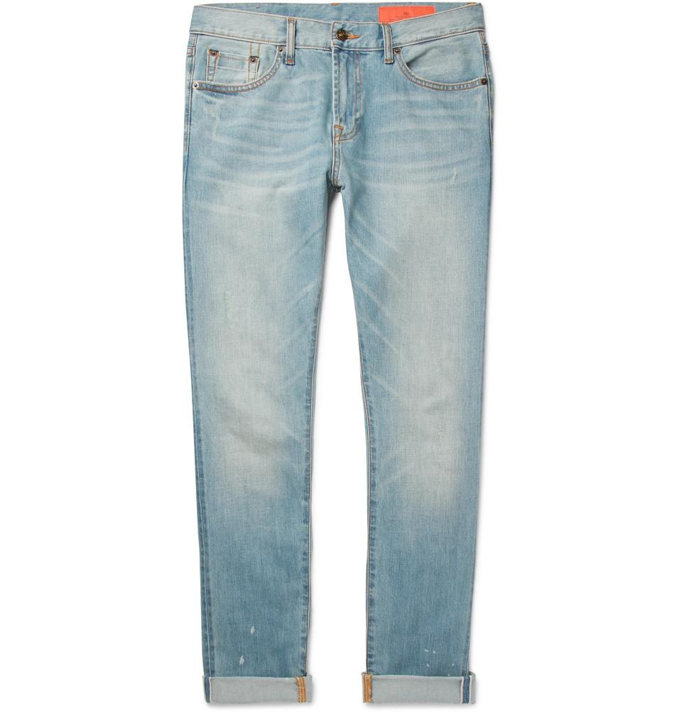 Kip Slim-fit Tapered Distressed Selvedge Denim Jeans - Light denim