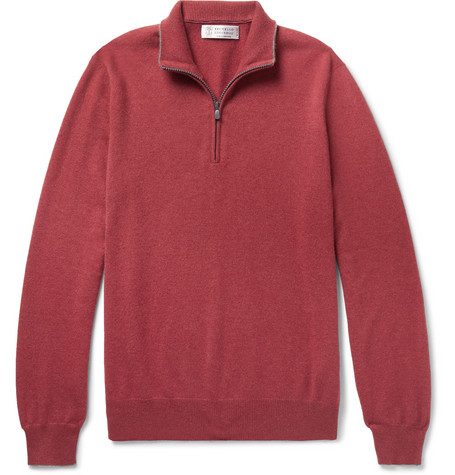 Cashmere Sweater Half Contrast Zip Cucinelli Brunello Tipped 4n1xtUq