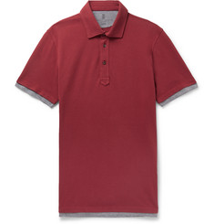 Brunello Cucinelli Slim-Fit Jersey-Trimmed Cotton-Piqué Polo Shirt