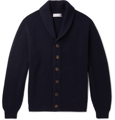 Brunello Cucinelli Shawl-Collar Ribbed Cashmere Cardigan