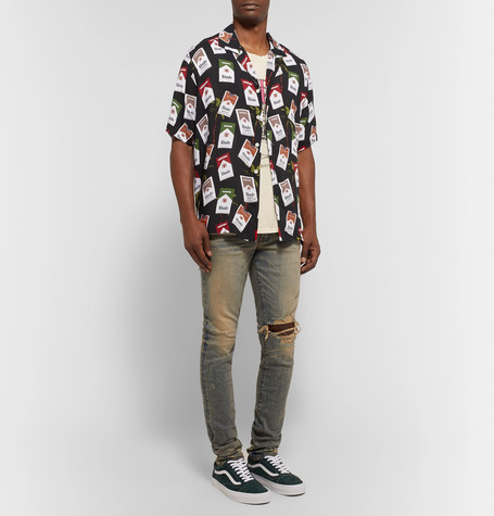 Oversized Camp Collar Printed Cotton Shirt by Rhude