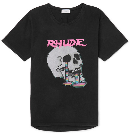 Oversized Printed Cotton Jersey T Shirt by Rhude