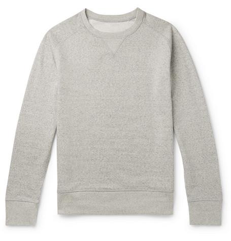 SECONDSKIN Mélange Loopback Supima Cotton-Jersey Sweatshirt in Gray