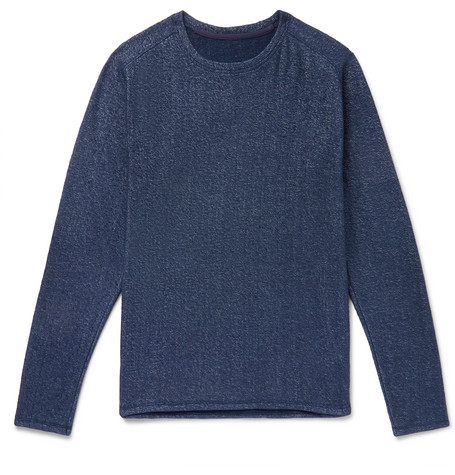 SECONDSKIN Mélange Loopback Cotton-Blend Jersey T-Shirt in Navy