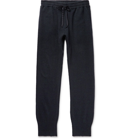 SECONDSKIN Tapered Cashmere-Blend Sweatpants in Midnight Blue