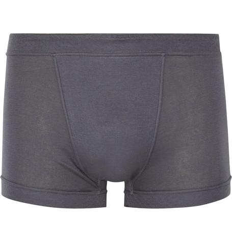 SECONDSKIN Air Knit Cotton-Jersey Boxer Briefs in Anthracite