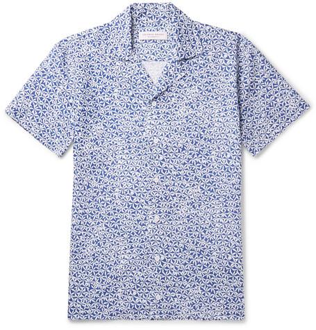 Orlebar Brown – Travis Slim-fit Camp-collar Printed Cotton And Linen-blend Shirt – Blue