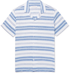 Orlebar Brown Travis Camp-Collar Striped Linen and Cotton-Blend Shirt