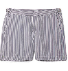 Orlebar Brown Bulldog Mid-Length Striped Seersucker Swim Shorts