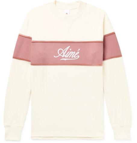 Aimé Leon Dore Colour-block Logo-print Cotton-jersey Sweatshirt - Pink FUXGE