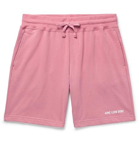 Aimé Leon Dore Logo-print Loopback Cotton-jersey Drawstring Shorts - Pink SB88KrEqFp