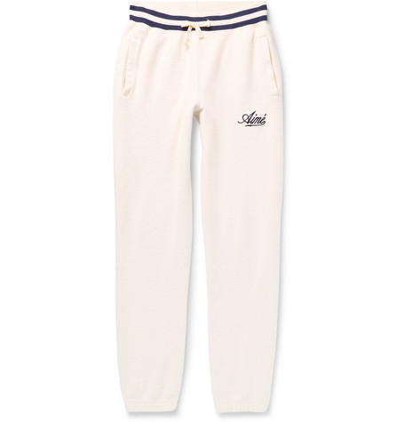 tapered-logo-embroidered-cotton-fleece-sweatpants by aimé-leon-dore