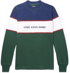 Aimé Leon Dore Colour-Block Logo-Print Cotton-Jersey Sweatshirt