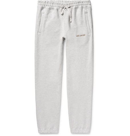 Tapered Logo Embroidered Mélange Loopback Cotton Jersey Sweatpants by Aimé Leon Dore