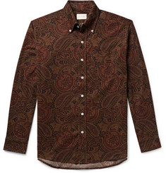 Aimé Leon Dore Button-Down Collar Paisley-Print Cotton-Corduroy Shirt