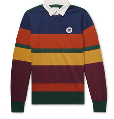Aimé Leon Dore Twill-Trimmed Striped Cotton-Jersey Polo Shirt