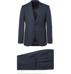 Hugo Boss Navy Helwerd Genius Slim-Fit Checked Wool Three-Piece Suit