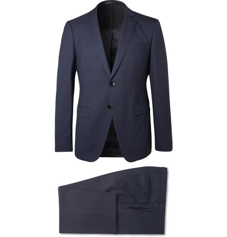 b5a4db04 Hugo Boss - Navy Reymond/Wenten Slim-Fit Checked Virgin Wool Suit