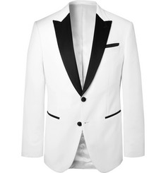 Hugo Boss White Helward Slim-Fit Satin-Trimmed Cotton-Velvet Tuxedo Jacket