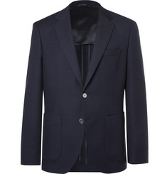 Hugo Boss Navy Janson Waffle-Knit Virgin Wool Blazer
