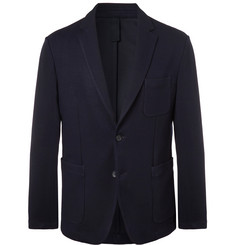 Hugo Boss Navy Noswen Slim-Fit Waffle-Knit Blazer