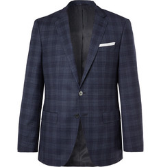 Hugo Boss Navy Hutsons Slim-Fit Prince of Wales Checked Virgin Wool Blazer