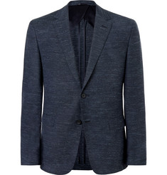 Hugo Boss Navy Nobis Slim-Fit Mélange Wool, Cotton and Linen-Blend Blazer