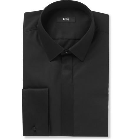 968d69caf Hugo Boss - Black Slim-Fit Cotton-Poplin Tuxedo Shirt