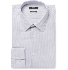 Hugo Boss White Jack Slim-Fit Pinstriped Cotton-Oxford Shirt