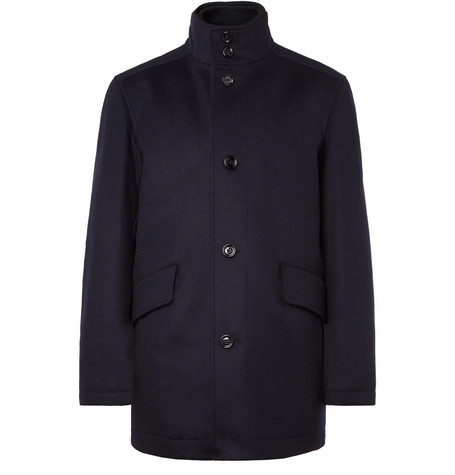 Hugo Boss – Coxton Virgin Wool And Cashmere-blend Coat With Detachable Liner – Navy