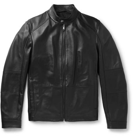 Hugo Boss – Leather Café Racer Jacket – Black
