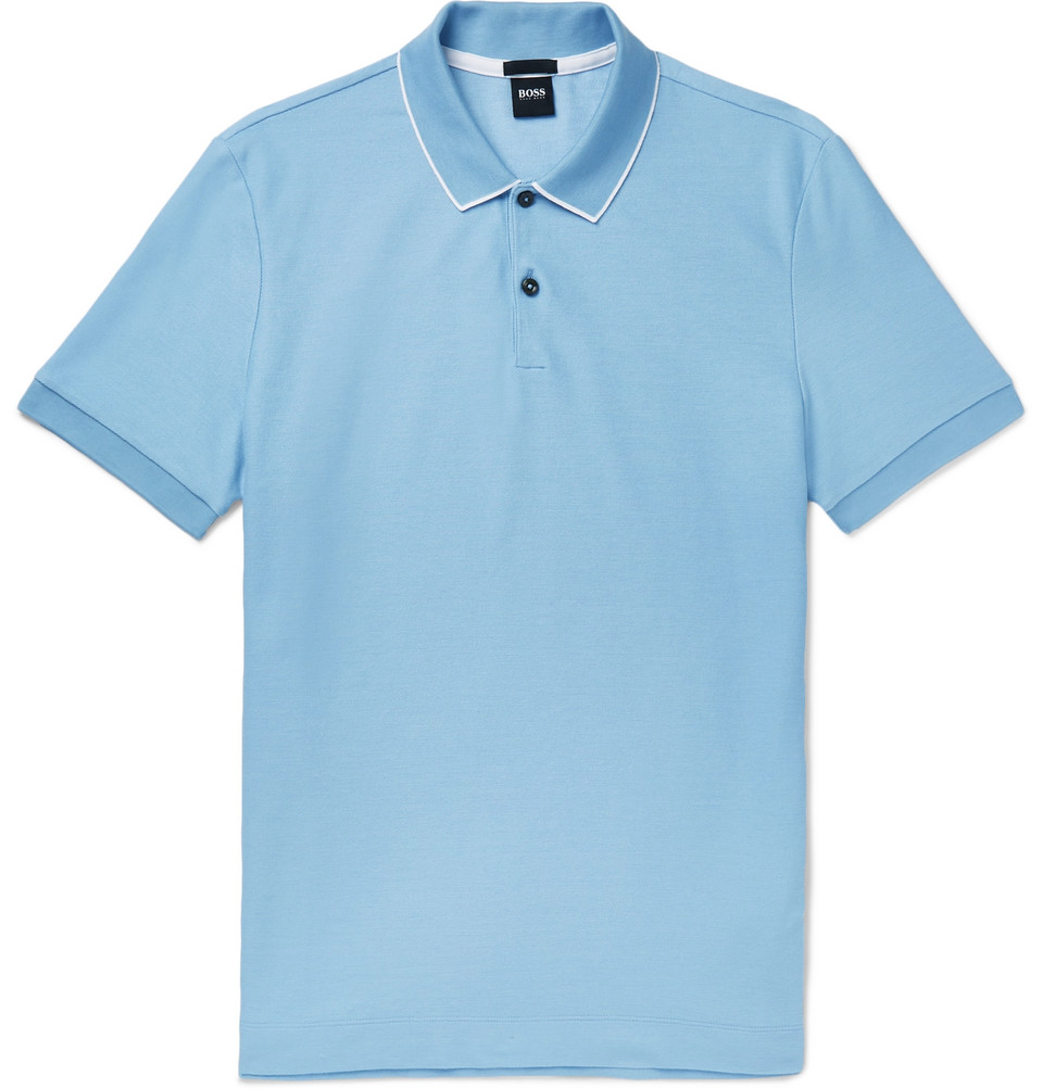 Hugo Boss Contrast-Tipped Cotton-Pique Polo Shirt