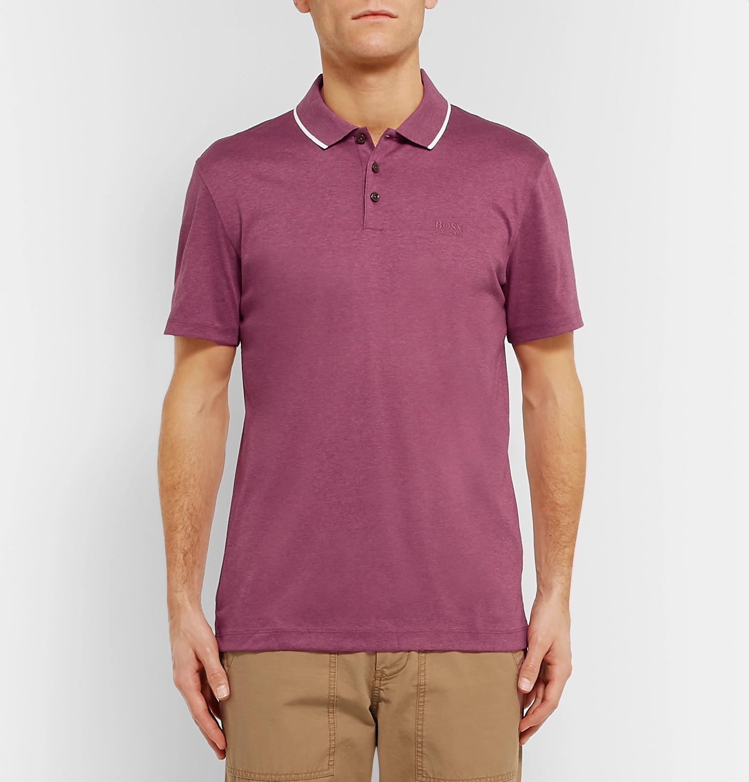 eea2219e Hugo Boss - Contrast-Tipped Mélange Cotton-Jersey Polo Shirt