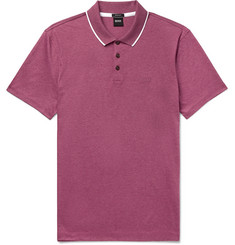 Hugo Boss Contrast-Tipped Mélange Cotton-Jersey Polo Shirt