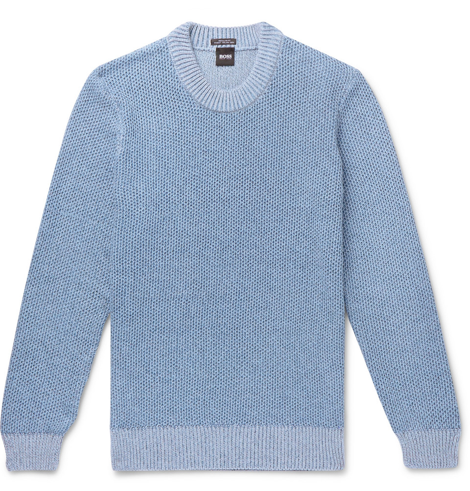 Hugo Boss Waffle-Knit Cotton Sweater