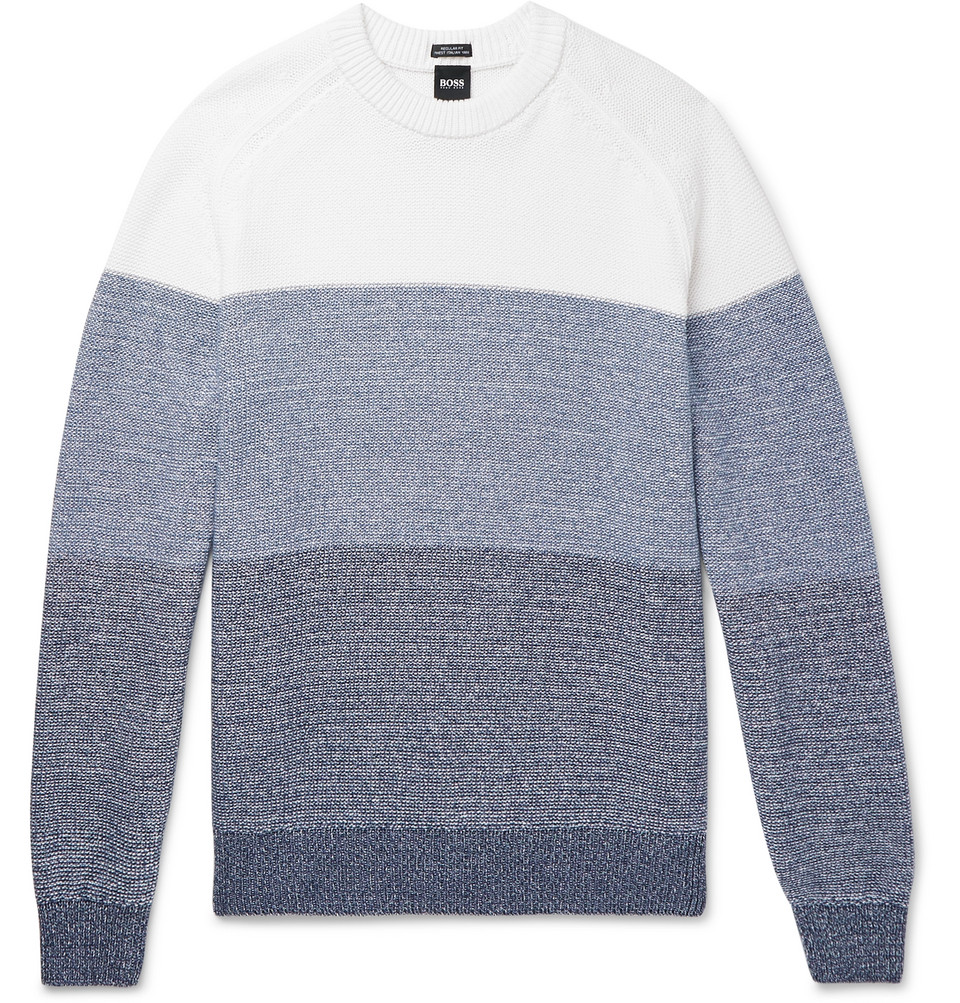 Hugo Boss Colour-Block Melange Cotton Sweater