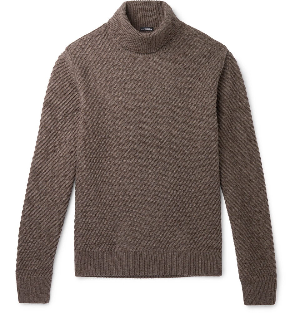 Hugo Boss Ribbed Virgin Wool, Silk and Cashmere-Blend Rollneck Sweater