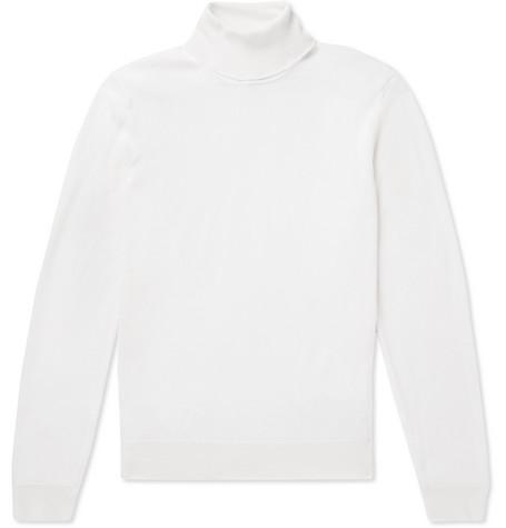 Virgin Wool And Silk Blend Rollneck Sweater by Hugo Boss