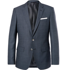Hugo Boss Navy Hutsons Slim-Fit Checked Virgin Wool Blazer