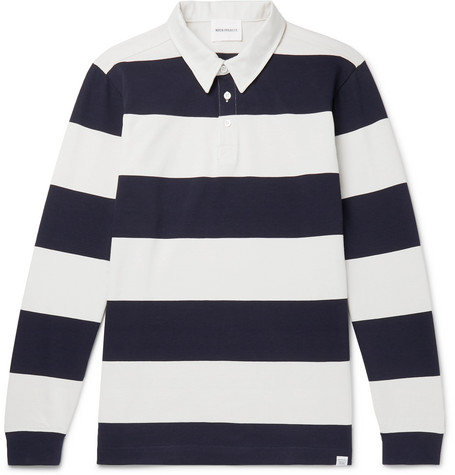 599a458b415 Norse Projects - Ruben Twill-Trimmed Striped Cotton-Jersey Polo Shirt
