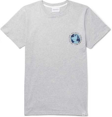 4e50760d1b Norse Projects - Niels Globe Printed Mélange Cotton-Jersey T-Shirt