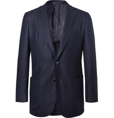 P. Johnson Navy Unstructured Striped Herringbone Wool and Cashmere-Blend Blazer