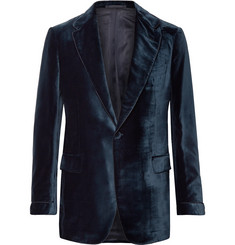 P. Johnson Navy Slim-Fit Piped Cotton-Velvet Tuxedo Jacket