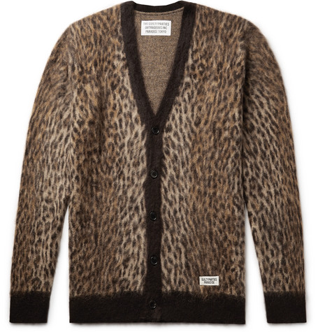 Leopard Jacquard Mohair Blend Cardigan by Wacko Maria